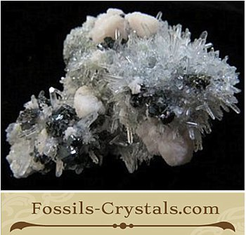 Quartz Needles, Sphalerite and Manganoan Calcite – Bulgaria- $44.99- Fossils-Crystals.com