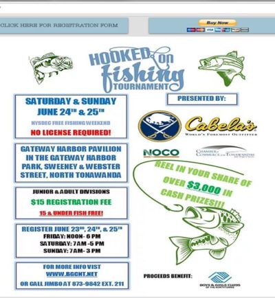 Hooked on the tonawandas fishing derby june 24 5 2017 for Nys fishing license cost