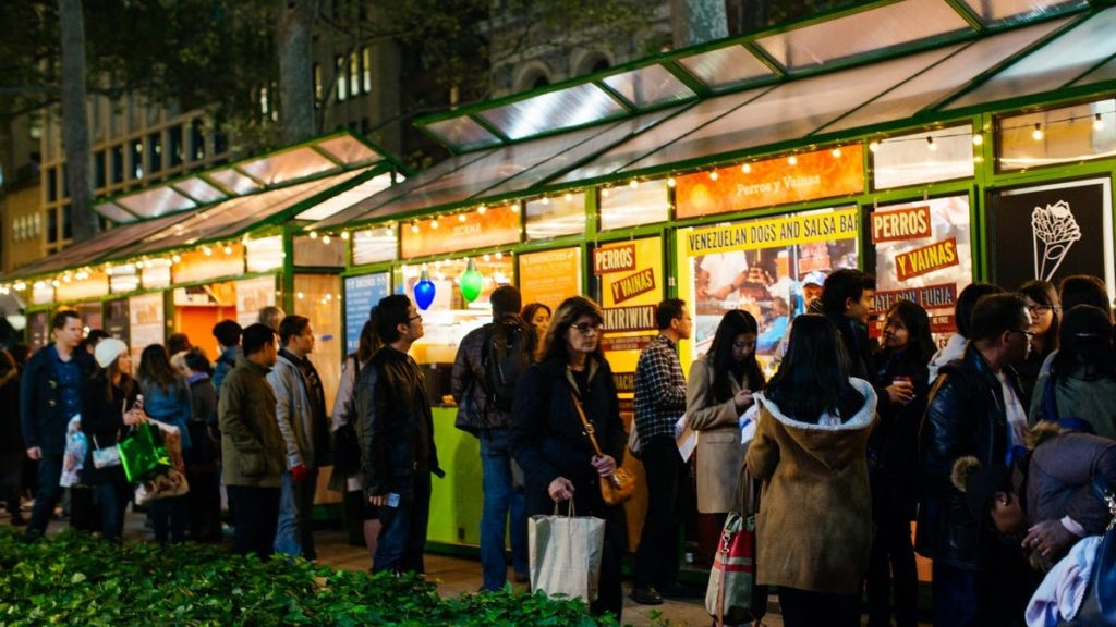 Bryant Park - Holiday Shops Open from October 28, 2017 to