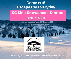 Byrncliff Resort-Cross Country Skiing or Snowshoe & Dinner Only $29– 12 Miles of Groomed Trails with Evening Skiing  to 9pm on Thrusdays and 10pm on Weekends -Varysburg, NY