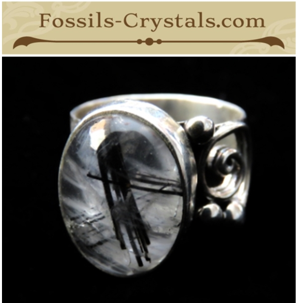 Black Rutile in Quartz Sterling Silver Ring – Size 6.5- New- $49 – Fossils-Crystals.com