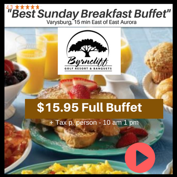 Byrncliff Resort- Delicious Sunday Brunch for $15.95 and kids 5 and Under eat free – Varysburg, NY